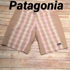Patagonia Brown Bermuda shorts Pink/Cream Stripes